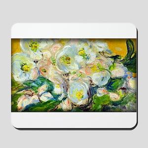 Monet Painting, Christmas Roses, Mousepad