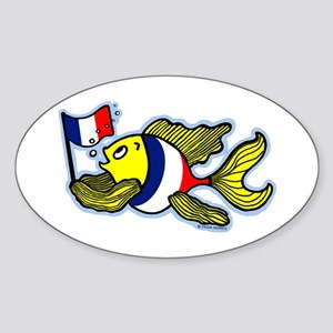 French Flag Fish Sticker (Oval)