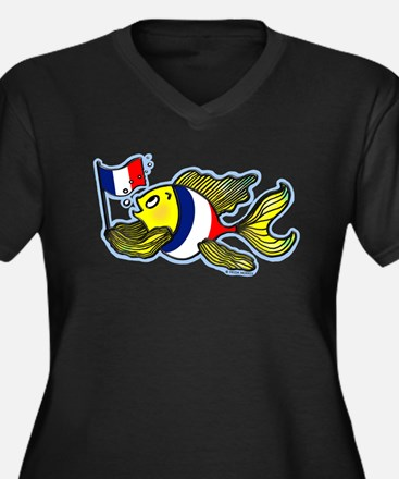 French Flag Fish Women's Plus Size V-Neck Dark T-S