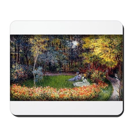 Monet Painting, In the Garden, 1875, Mousepad