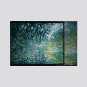 Morning on the Seine, Monet, Rectangle Magnet
