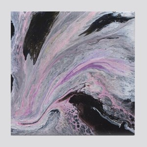 White/Black/Pink Abstract Tile Coaster