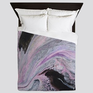 White/Black/Pink Abstract Queen Duvet