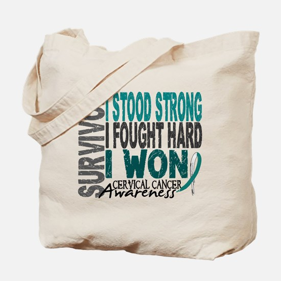 Survivor 4 Cervical Cancer Shirts and Gifts Tote B