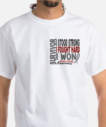 Survivor 4 Brain Cancer Shirts and Gifts White T-S