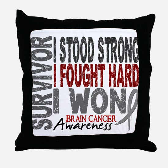 Survivor 4 Brain Cancer Shirts and Gifts Throw Pil