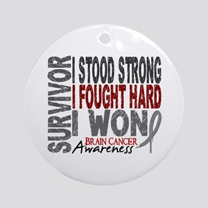 Survivor 4 Brain Cancer Shirts and Gifts Ornament