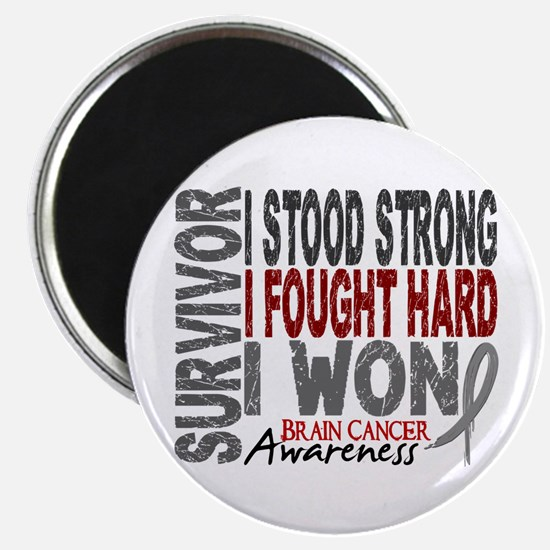 """Survivor 4 Brain Cancer Shirts and Gifts 2.25"""" Mag"""