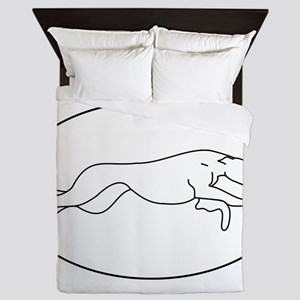 Greyhound Outline multi color Queen Duvet