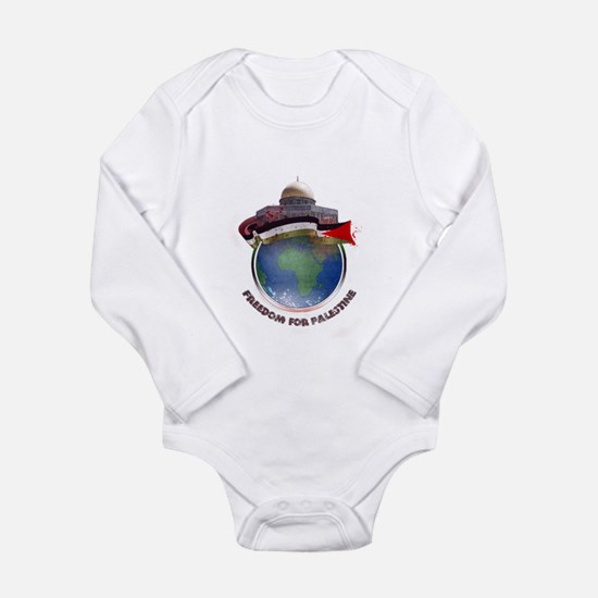 Palestine flag globe Long Sleeve Infant Bodysuit