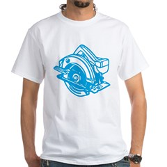 Pop Art - 'Circular Saw - Blu White T-Shirt