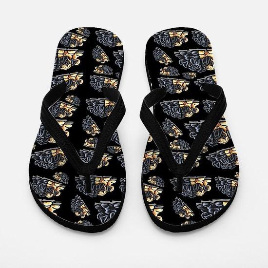 Black n Fawn Pugs Black Flip Flops