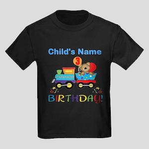 3rd Birthday Train Kids Dark T-Shirt