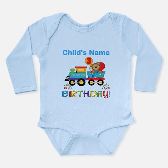 3rd Birthday Train Long Sleeve Infant Bodysuit