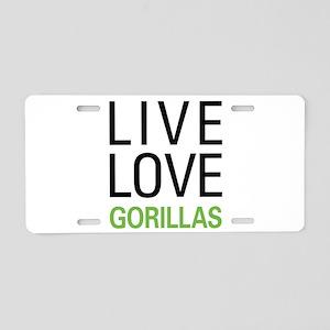 Live Love Gorillas Aluminum License Plate
