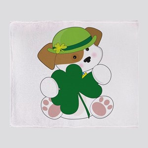 Cute Puppy St Pats Throw Blanket