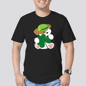 Cute Puppy St Pats Men's Fitted T-Shirt (dark)
