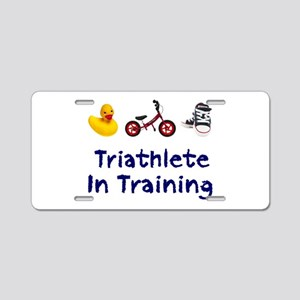 Triathlete in Training Aluminum License Plate