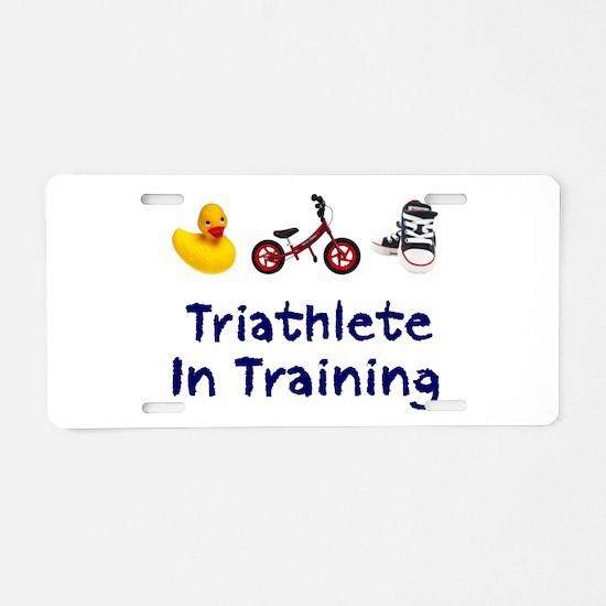 Triathlete in Training Aluminum License Plate