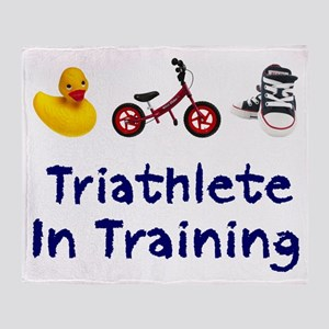 Triathlete in Training Throw Blanket