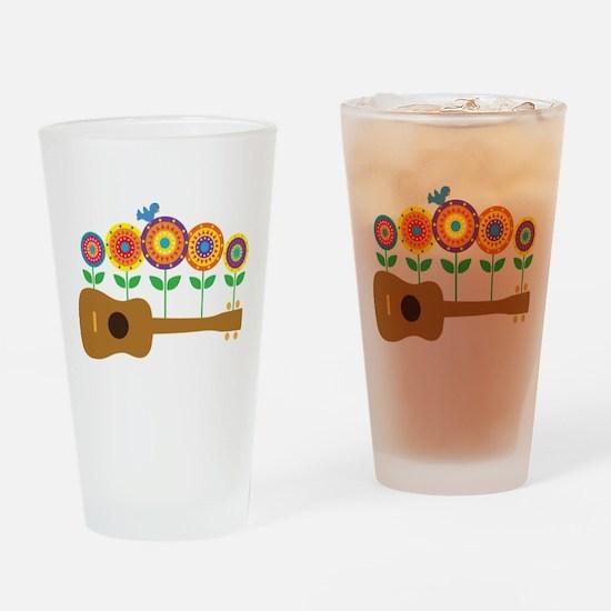 Ukulele Flowers Drinking Glass