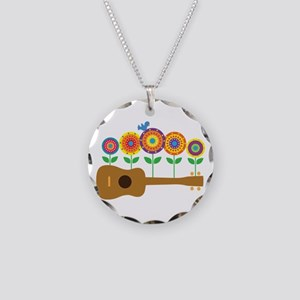 Ukulele Flowers Necklace Circle Charm