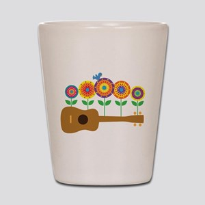 Ukulele Flowers Shot Glass