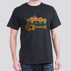 Ukulele Flowers Dark T-Shirt