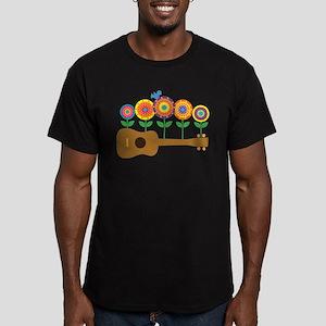 Ukulele Flowers Men's Fitted T-Shirt (dark)