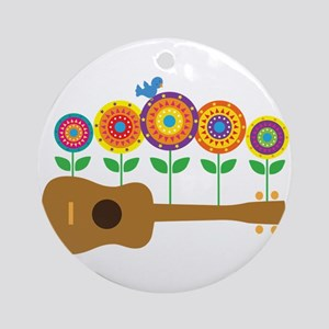 Ukulele Flowers Ornament (Round)