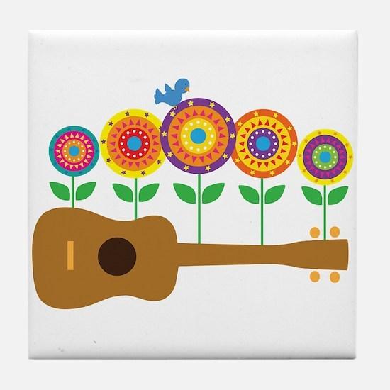 Ukulele Flowers Tile Coaster
