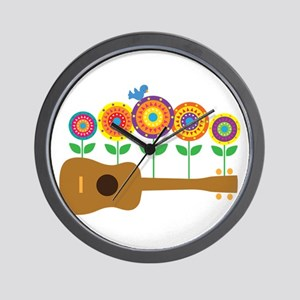 Ukulele Flowers Wall Clock