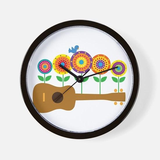 Ukulele Flowers Wall Clock