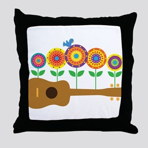 Ukulele Flowers Throw Pillow