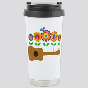 Ukulele Flowers Stainless Steel Travel Mug