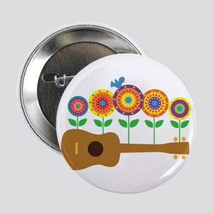 """Ukulele Flowers 2.25"""" Button"""