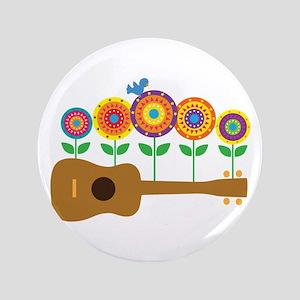 """Ukulele Flowers 3.5"""" Button"""