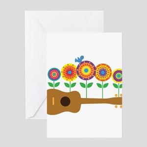 Ukulele Flowers Greeting Card