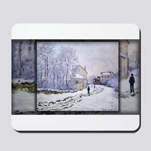 Monet Painting, Snow in Argenteuil, Mousepad
