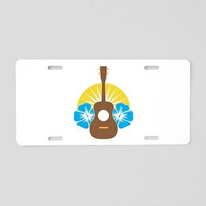 Ukulele Hibiscus Aluminum License Plate