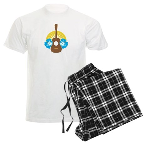 Ukulele Hibiscus Men's Light Pajamas