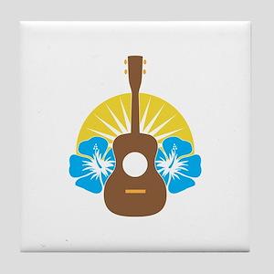 Ukulele Hibiscus Tile Coaster