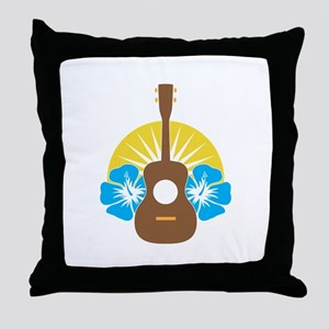 Ukulele Hibiscus Throw Pillow