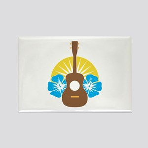 Ukulele Hibiscus Rectangle Magnet
