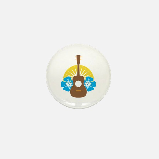 Ukulele Hibiscus Mini Button