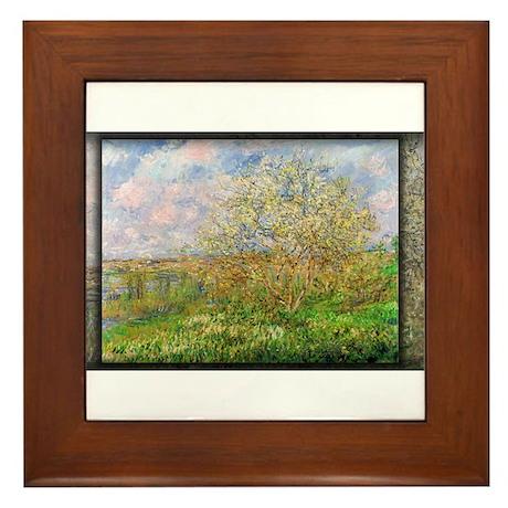 Monet Painting, Springtime, 1880, Framed Tile