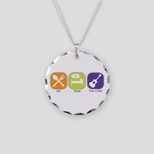 EAT, SLEEP, PLAY UKE Necklace Circle Charm