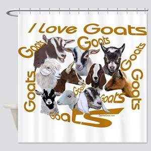 I love Goat Breeds Shower Curtain