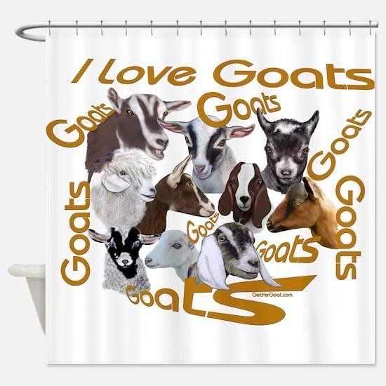 I love Goat Breeds Shower Curtain