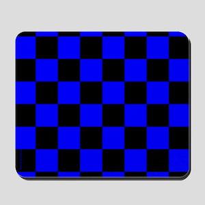 Blue and Black Checker Board Mousepad